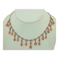 Victorian 800 Gilt Silver Coral Ring Drop Necklace