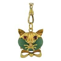 Retro 14K Jadeite Kitty Cat Pendant