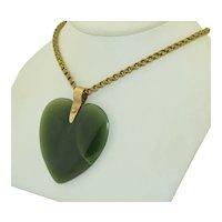 Oversized 14K Antique Jade Heart Pendant
