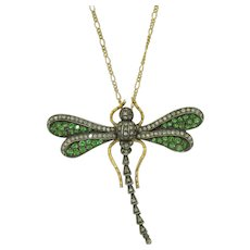 Large 14K Sterling Silver Diamond Ruby and Demantoid Dragonfly Pendant