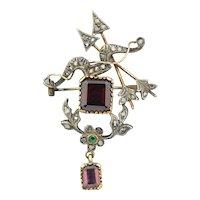 Victorian 14K & SS Rose Cut Diamond Garnet Emerald & Tourmaline Arrow Brooch