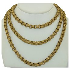 46 Inch Georgian Pinchbeck Gold Gilt Chain Necklace