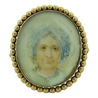 Antique 14K Hand Painted Miniature Portrait Ring Turban Lady