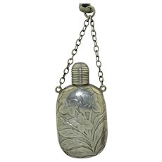 Victorian Sterling Silver Flower Perfume Bottle Pendant
