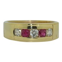 Lovely 14K Diamond and Ruby Band Ring.
