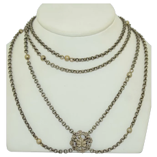62 Inch Victorian Sterling Silver Chain & Slide Chain Necklace
