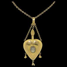 Victorian 18K Heart Locket pendant painting of Victoria of Baden Swedish Royalty