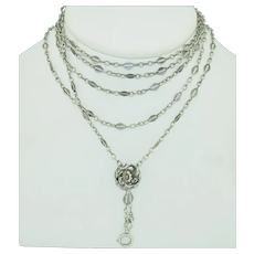 French Sterling Silver Guard Chain with Slide