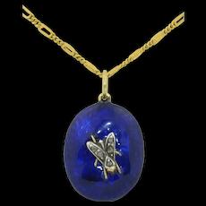 Wonderful Victorian 14K Enamel & Rose Cut Diamond Insect Fly Locket Pendant