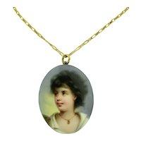 Victorian Porcelain & 9K Locket Hand Painted Gypsy Portrait Pendant
