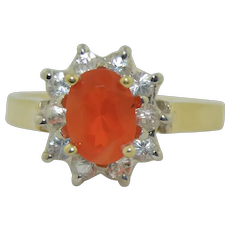 14K Mexican Fire Opal & Topaz Halo Ring