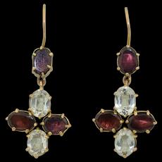 Victorian 9K Flat Cut Garnet & Spinel Earrings