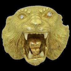 Incredible 18K Art Nouveau Lion Head Brooch