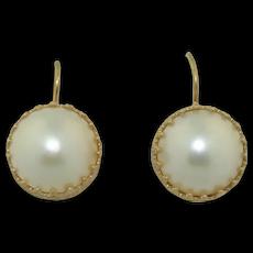 14K Yellow Gold 13mm Mobe Pearl Earrings