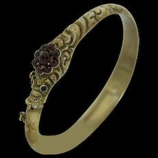 Early Victorian Garnet Ouroboros Snake Locket Bracelet in Sterling Silver Gold Gilt