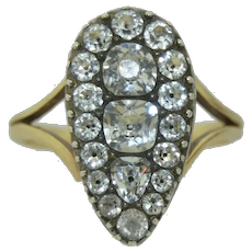 Exquisite Georgian Black Dot Paste 14K & SS Ring