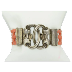 Victorian French Sterling Silver & Coral Bracelet