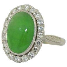 Fine Apple Green Jade Diamond & Platinum Halo Ring