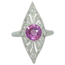 Exquisite 1.5CT Natural Pink Sapphire and Diamond Art Deco Ring