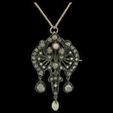 Early Victorian 14K & Sterling Rosecut Diamonds Emerald Conch Pearl Pendant Brooch