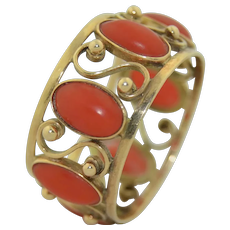 Antique 14K Natural Coral Eternity Ring Band 10 mm Wide