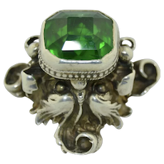 Antique Massive Green Man Sterling Silver Ring