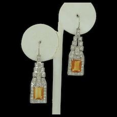 Mesmerizing French Platinum Fine Diamond & Citrine Earrings