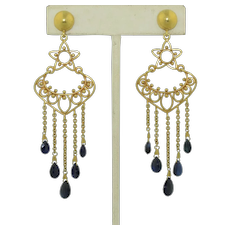 Vintage 14K & Sapphire Shoulder Duster Earrings
