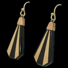 Fabulous 14K & Jett Art Deco Earrings