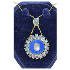 Wordley, Allsopp & Bliss 14K Fine Moonstone & Enamel Necklace
