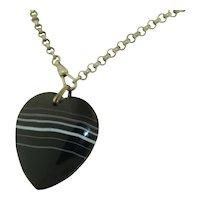 Oversized Banded Agate Heart Pendant
