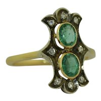 Victorian 18K & SS Emerald and Diamond Ring