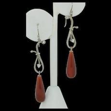 Vintage Sterling Silver Carnelian Drop Earrings