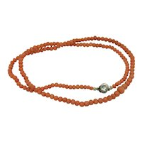 Victorian 18.5 Inches Natural Coral Beaded Necklace with Paste Sterling Clasp