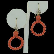 Victorian 18K Coral & Diamond Hoop Earrings