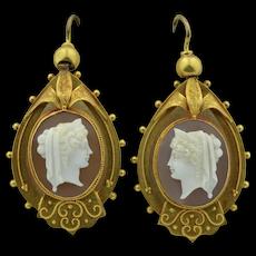 Victorian 14K Shell Cameo Etruscan Revival Earrings