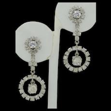 Fabulous 4.5 CTW Diamond Halo Drop Earrings in 14K White Gold
