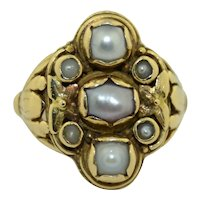 Arts and Crafts Era 14K Pearl Ring