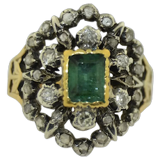 Early Victorian French 18K Emerald & Rose Cut Diamond Ring