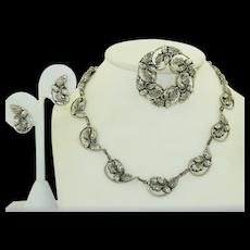 Vintage Sterling Silver Danecraft Suite Necklace, Brooch & Earring Set