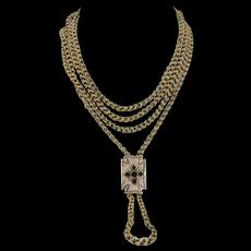 62 Inch Victorian Solid 10K Gold Chain & Enamel Slide (42 grams)