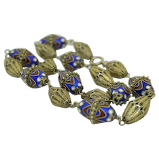 """Antique 18"""" Sterling Silver And Enamel Cannetille Necklace"""