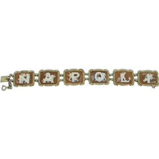 Ditta Lopez NAPOLI Cherub Putti Angel Shell Cameo 900 Silver Bracelet as boxed