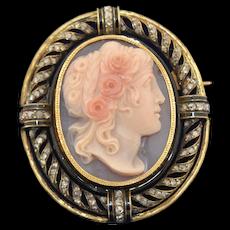 Victorian French Import 18K Shell Cameo Rose Cut Diamond & Enamel Brooch