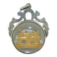 Sterling Silver 1852 Steam Engine Train Fob Pendant