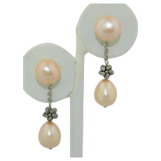 Vintage 14K Pearl Day and Night Earrings