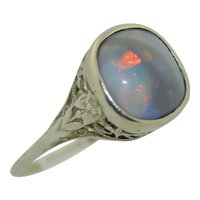 Art Deco 18K Filigree Black Opal Ring