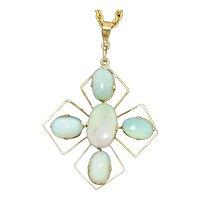 A Delicate 9K Opal Pendant