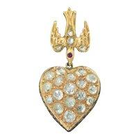 14K 4 + CTW Rose Cut Diamond Heart Pendant