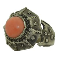 Sterling Silver Super Chunky Coral Ring Medieval Gothic